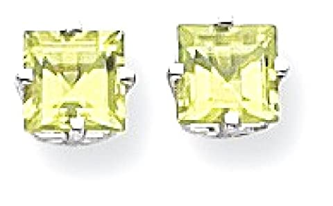 IceCarats 14k White Gold 5mm Square Step Cut Green Peridot Post Stud Ball Button Earrings Gemstone