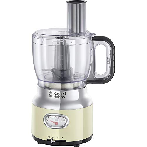 Russell Hobbs 25182-56 Robot Cuisine Multifonction 2,3L Retro, Hâche, Mixe, Tranche, Râpe, Compatible Lave-Vaisselle, Design Vintage - Crème