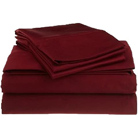 4piezas Juego de sábanas (1sábana bajera ajustable + 1hoja plana + 2funda de almohada) UK tamaño sólido 450hilos con 16pulgadas (40cm) bolsillo profundo, granate, UK