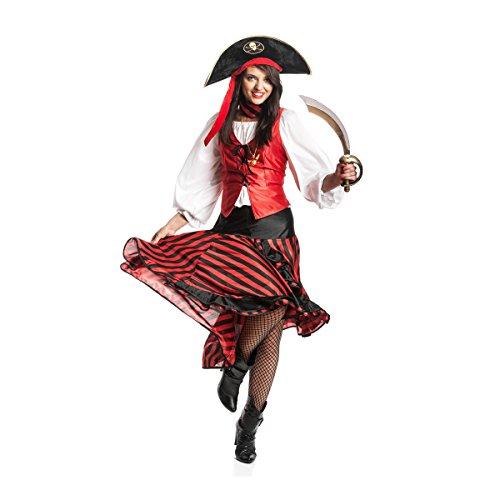 Kostümplanet® Piratin Kostüm mit Halstuch Piratinkostüm Damen Piraten Kostüm Pirat Größe - Eine Große Kostüm