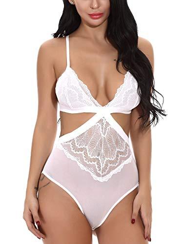 eizwäsche Sexy Spitze Negligee Damen Overalls Bodysuit Lingerie Unterwäsche Weiß XL ()