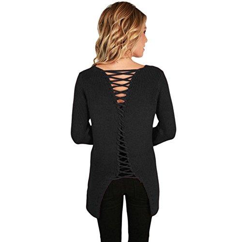 AN-LKYIQI Maglioncino pullover da donna con maniche lunghe con scollo a V dietro Gray