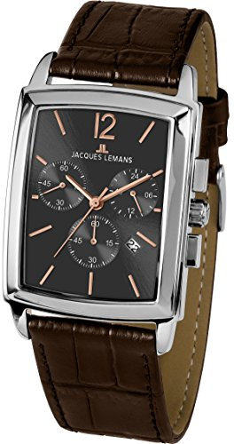 JACQUES LEMANS MEN'S CLASSIC BIENNE BROWN LEATHER BAND QUARTZ WATCH 1-1906C