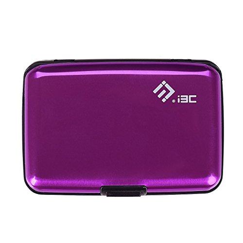 I3C Étui Carte de Crédit Blocage RFID Portefeuille Pochette en Aluminium Cadeau Saint Valentin (Violet)
