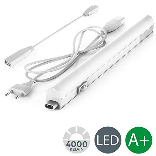 Lampada sottopensile cucina LED, luce bianca naturale 4000K, LED integrati da 4W, lunghezza 31cm, interruttore on off, plastica, lampada moderna collegabile con lampade uguali, 230V IP20