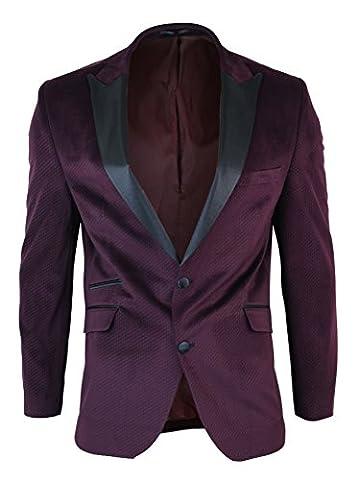 Mens Slim Fit 1 Button Velvet Blazer Tuxedo Dinner Jacket Maroon Burgundy Black