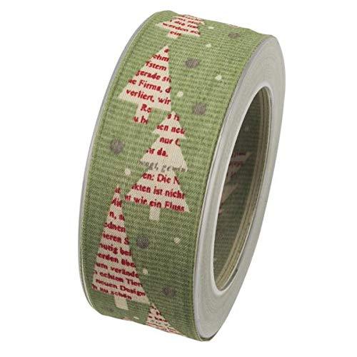 Goldina Schleifenband mit Drahtkante Tannenbaum 40mm (1m=0,43EUR) grün 20m Rolle