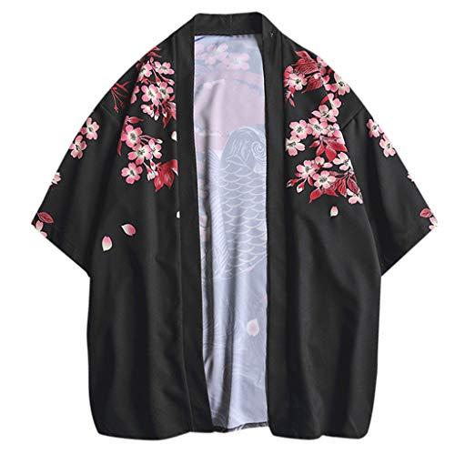 TEBAISE Sommerjacke Herren Japan Happi Kimono Jacke Übergangsjacke Mäntel 3/4 Ärmel Hippie Lässige Cardigan Ukiyoe Baggy Tops Yukata Coat Mode Oberbekleidung Strickjacke 2019