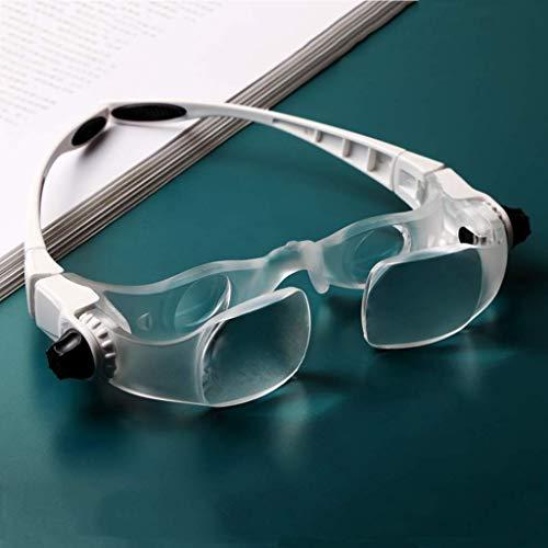 ZQ Hands Free Lupe Stirnband, Licht Lupe zum Lesen, 1 x 3,8 x Zoom Doppellinsen, Schmucklupe, Uhr und elektronische Reparatur, Glas, grau, Large 100.00watts