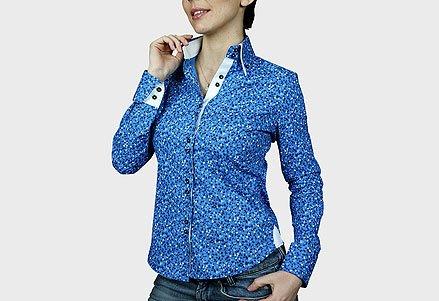 chemise imprimee liberty bleu Bleu
