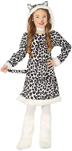 Leopard Snow Mädchen Kostüm - Girls Snow Leopard Animal Big Cat Jungle Winter Christmas Xmas Carnival Fun Fancy Dress Costume Outfit (7-9 years)