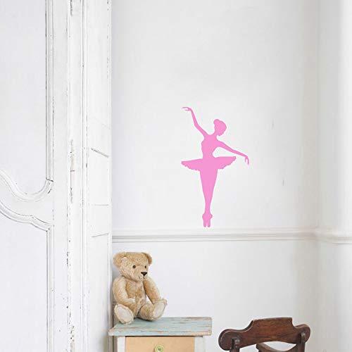 WWYJN Ballerina Vinyl Wall Sticker Removable Vinyl Nursery Kids Bedroom Wall Decal Girl Dancer Dancing Ballet Graphic Wall Mural42x73cm