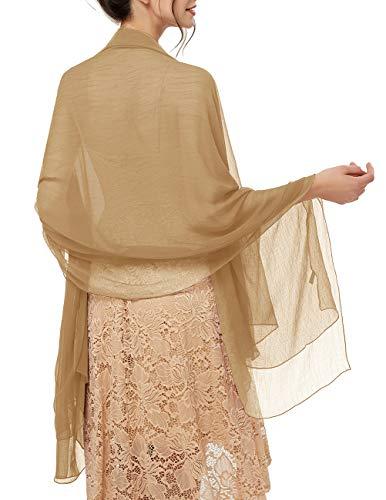 bridesmay Damen Strand Scarves Sonnenschutz Schal Sommer Tuch Stola für Kleider in 29 Farben Light Khaki