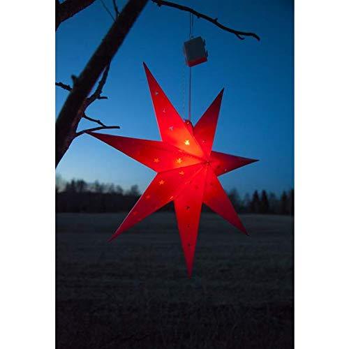 KAMACA Großer leuchtender LED Stern Outdoor LED Außenstern 60 cm Durchmesser Bright Shining Star mit 12 warm White LED mit Timer Advent Winter Weihnachten (ROT)