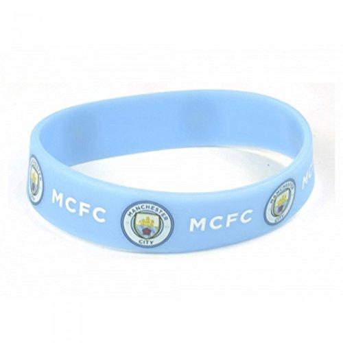 Manchester City FC - Pulsera de silicona oficial de v (Talla Única/Azul claro)