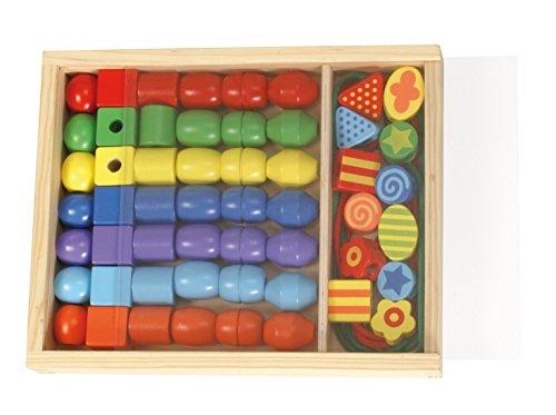 SIMM Spielwaren Lena 32010 - Kit de bricolage holzfä Delp erlen Grand dans un coffret en bois, 54 pièces, env. 3 cm