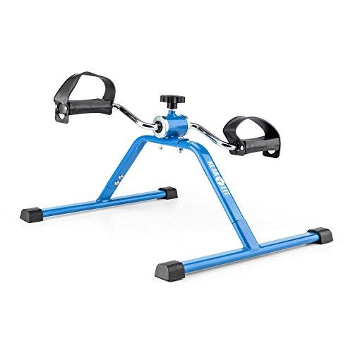 Klarfit Continus - Mini Indoor Fitness Bike, Pedaltrainer, Armtrainer, Beintrainer, manueller Widerstand, sitzendes und stehendes Training, einfacher Transport, platzsparend, blau