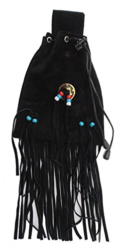 Gürteltasche Lederbeutel Western Indian Style schwarz -