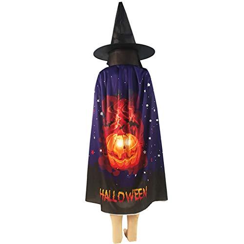 lailongp Halloween Hexenkostüme Hut Zauberer Umhang für Kinder Kürbis Rollenspiel - Troll Kostüm Für Kleinkind