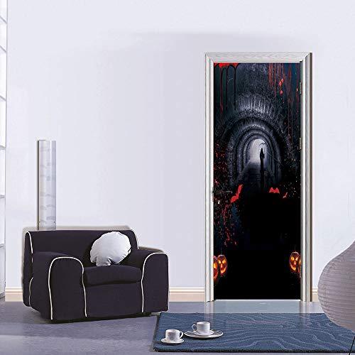 3D Creative Halloween Door Sticker DIY Mural Selfadhesive Wallpaper Removable Waterproof Poster Stickers Home Decor ()