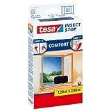 tesa Fliegengitter für bodentiefe Fenster, beste tesa Qualität, anthrazit, durchsichtig, 1,20 m x 2,40 m | anthrazit
