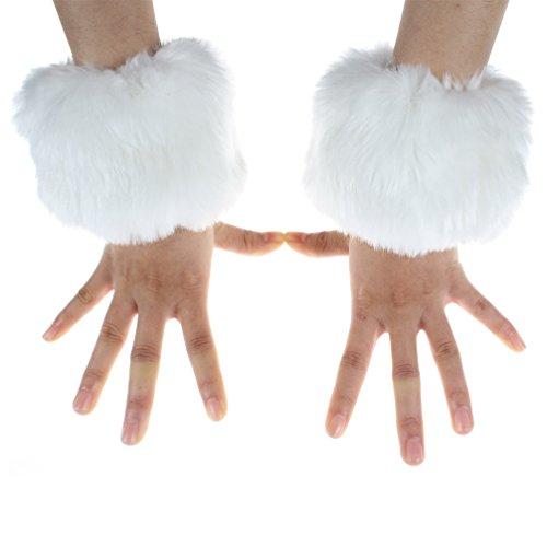 ECOSCO Kunstfell-Manschetten für die Handgelenke, für Herbst, Winter, wärmt bei kaltem Wetter, Herren Mädchen unisex Jungen damen, weiß, one szie fit S to M