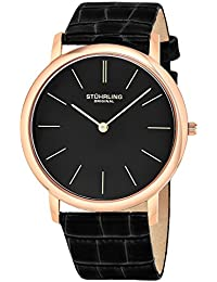 Stuhrling Original Ascot Men's Quartz Watch with Black Dial Analogue Display and Black Leather Strap 601.3345K1