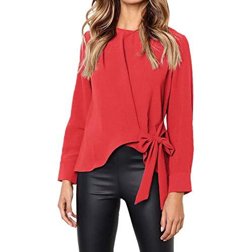 Camisas Mujer, BBestseller 2018 Blusas para Mujer Vaquera Sexy Gasa Tops Camisetas Mujer Cremallera Manga Corta Blusas Fiesta Camisetas Pulóver Ropa cálida Mujer (S, Rojo)