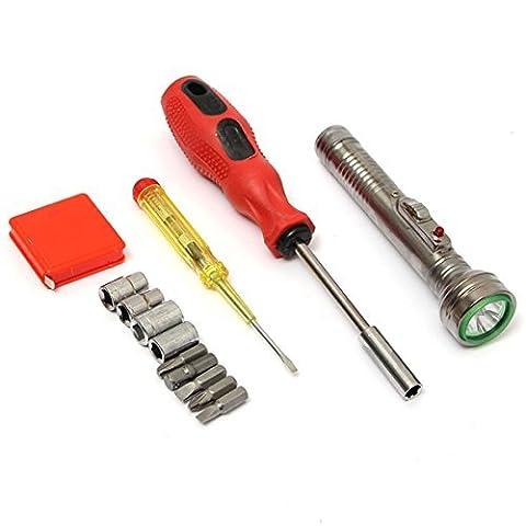 Generic 13pcs universel outils assortis Tournevis Bit Band ruban adhésif électrique lampe de poche kit Ménages Outil de composition