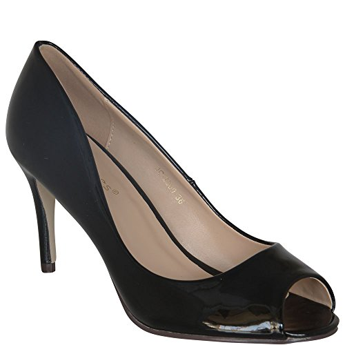 Super Sommer Peep-Toe Pump High Heel Damenschuhe IM Lack-Look 8 cm Absatz Rot, Schwarz, Weiß, Pink Neu V1599 (36, Schwarz)