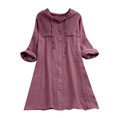 ESAILQ Frauen Stehkragen Long Sleeve beiläufige lose Tunika Tops T Shirt Bluse (M, Rosa-Z)