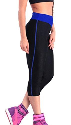 sporthose damen 3 4 Jogging hose sport Leggings Strumpfhosen blau&schwarz,S