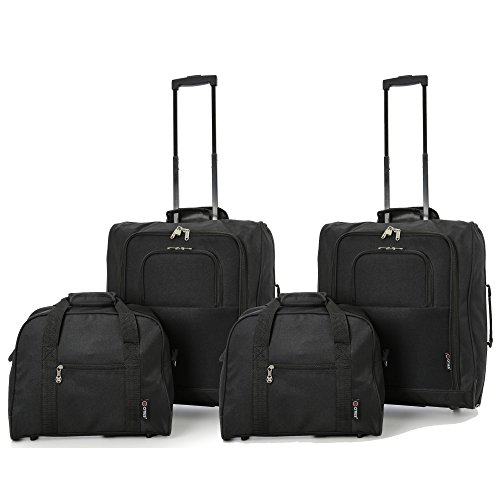British Airways Maximum 56x45x25cm & 40x30x15cm Main & Additonal Second Hand Luggage Cabin Bags – Pack the Max & Carry Both on Free with BA! (2 x BLACK)