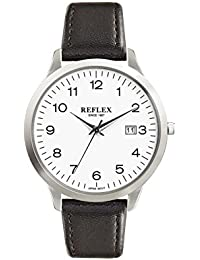 REFLEX MEN'S ROUND DIAL WATCH WITH BLACK PU LEATHER STRAP AND DATE FUNCTION REF0058