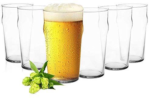 Sendez 6 Pint Gläser 0,5L Biergläser Bierglas Pilsgläser Pint Glas Trinkgläser Saftgläser Glas Pint Glas