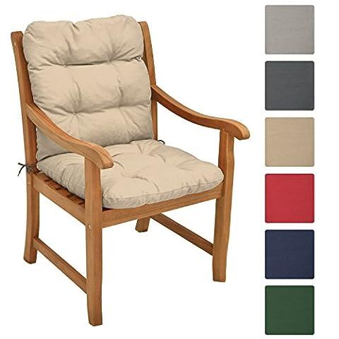 Beautissu Garden Chair Cushion Flair NL 100 x 50 x 8 cm Seatpad & Backrest with Soft Foam Flake Padding Natural