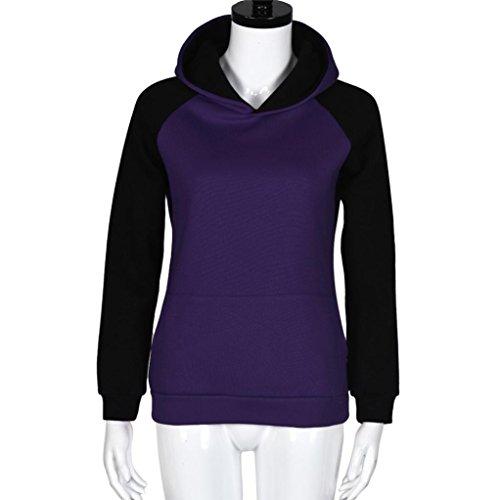 Ouneed® Femmes Détente PatchworkHooded Sweatshirt Pullover Hoodie Coat Jacket Jumper Violet