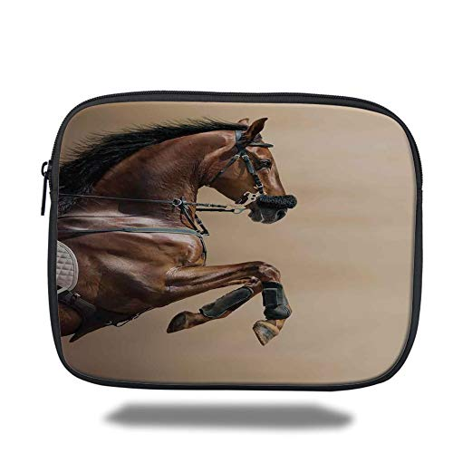 Tablet Bag for Ipad,Horses,Chestnut Color Horse Jumping in Hackamore Life Force Power Honor Love Sign Print,Brown Cream,Bag,Size:13inch