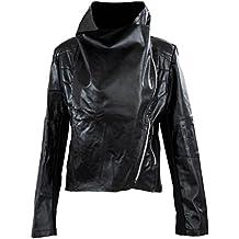 SODIAL (R) Moda vendimia de las mujeres delgado para la motorista de la motocicleta de la PU de cuero suave capa de la cremallera de la chaqueta Negro - S