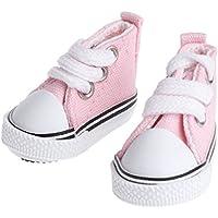 smallJUN 5cm Accesorios para Zapatos de muñeca Lona Juguetes de Verano Mini Zapatillas de Deporte Botas de Mezclilla Zapatos de Juguete de Color Rosa