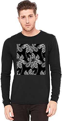 Flowers Print Langarm-T-Shirt Long-Sleeve T-shirt | 100% Preshrunk Jersey Cotton Small