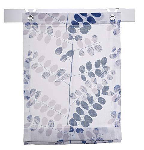 Preisvergleich Produktbild Kutti Raffrollo Ösenrollo Annemie Weiss blau 120 x 140