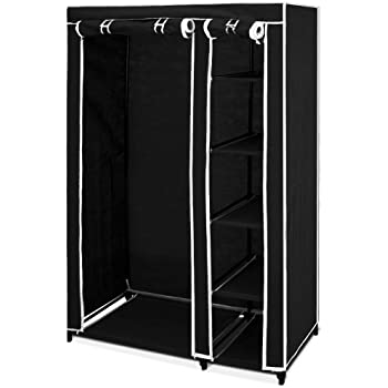 Double canvas wardrobe with clothes hanging rail and - Bedroom furniture for hanging clothes ...