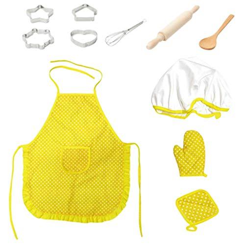 eliaSan Spielzeug 11pcs Kids Chef Rollenspiel Kostüm Set Kids Pretend Cooking und Baking Kit Beinhaltet Schürze, Kochmütze, Ofenhandschuh Großes Geschenk für Kinder \u0026 Kleinkinder (Für Kinder Cookie-kostüm)