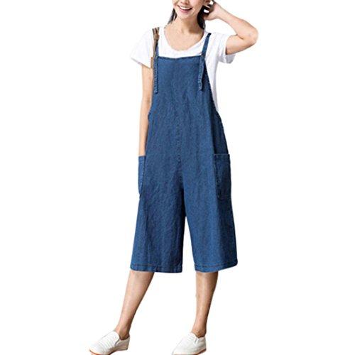 Preisvergleich Produktbild Young Damen Retro Latzhose FORH Mädchen Cute Jumpsuit Bib Overall Baggy jeans Strap Belt Denim Trägerhose Spielanzug Party Club Kurz Knielang Zuhause Jeans (L, Blau)