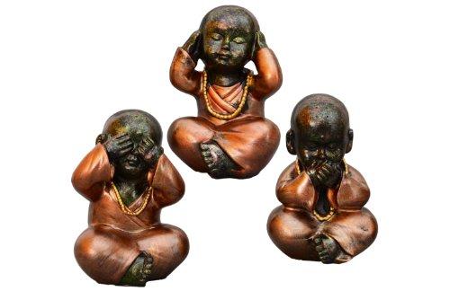 Dekoration Babymönche / Buddha / Figur / Skulptur / Set 3-tlg. sitzend