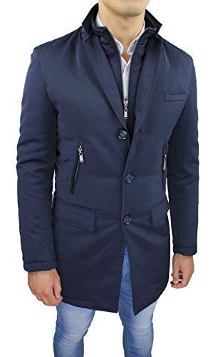 Giubbotto Giacca uomo blu scuro lungo slim fit Giaccone Soprabito casual elegante (3XL)