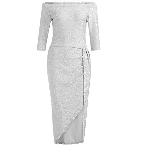 en Tasche Kleid mit offenem Kragen Hellen Kristall Kleid Abendkleid Frauen Weg Von Der Schulter Hohe Geschlitzte, Figurbetontes Kleid Langarm Kleider(Silber,EU-34/CN-M) ()