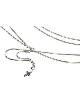 Bauchkette, Bikinikette (Panzer) mit Kreuz - Länge wählbar 65-110cm - echt 925 Silber