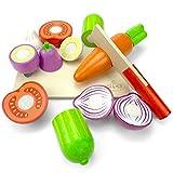 LISA & MAX Hochwertiges Holzgemüse Zum Schneiden für Kinder - Holz Zubehör für Kinderküche, Spielküche und Kaufladen - Lebensmittel Holzspielzeug mit Klett - Verbindung